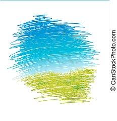 תקציר, ציור, וקטור, נוף, עם, דשא ירוק, וכחול, שמיים, -, וקטור, דוגמה