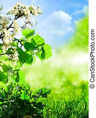 תקציר, קיץ, רקעים, עם, דשא ירוק, ו, עץ של תפוח העץ