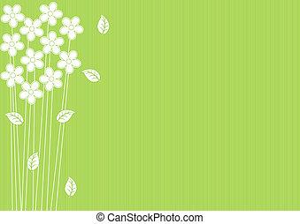 תקציר, רקע ירוק, עם, פרחים