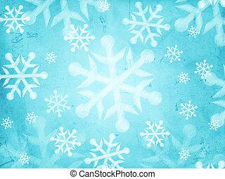 תקציר, רקע כחול קל, עם, פתיתות שלג