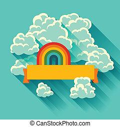 תקציר, רקע, כרטיס, עם, שמיים, ו, clouds.