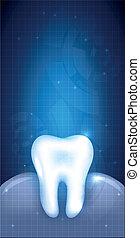 תקציר, שן, עצב, של השיניים, דוגמה
