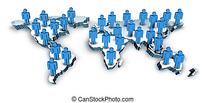 תקשורות גלובליות, עם, a, מפה של עולם