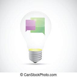 תקשורת, בתוך, מושג, נורת חשמל, אור