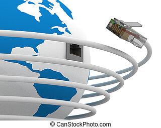 תקשורת גלובלית, ב, ה, world., 3d, image.