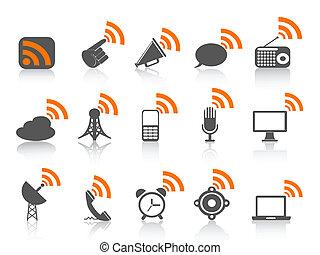 תקשורת, סמל, שחור, תפוז, איקון, rss