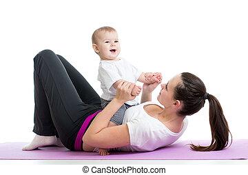 תרגילים, תינוק, אמא, התעמלות, כושר גופני