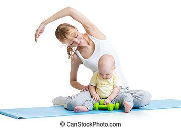 תרגילים, תינוק, התעמלות, אמא, כושר גופני