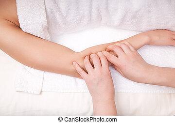 תרפיסט, שרירים, קנה זרוע, אישה, עמוק, ריקמה, עסה, מרפא