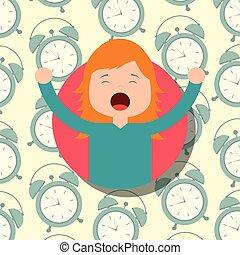 あくびする, 伸張, clocks, 背景, 女の子, パジャマ
