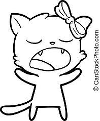 あくびする, 漫画, ねこ