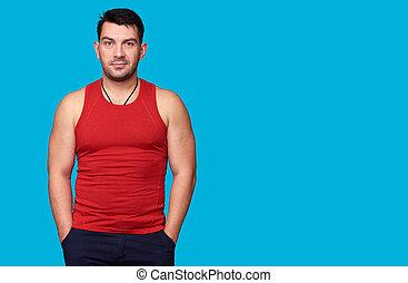 あごひげを生やした男, ワイシャツ, 赤, ハンサム
