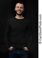 あごひげを生やしている, 上に, 男, 黒い背景, 微笑