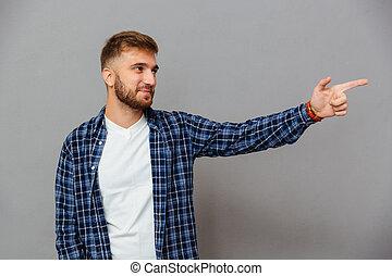 あごひげを生やしている, 指すこと, 離れて, 指, 肖像画, 偶然, 人