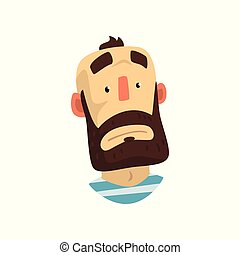 あごひげを生やしている, 美顔術, 人, はげ, イラスト, 顔, ベクトル, 背景, 感情的, 白い男性, 表現, 驚かされる