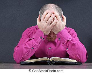 あごひげを生やしている, 聖書, 本, 熟考する, 読書, 人