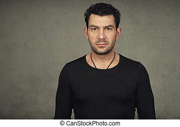 あごひげを生やしている, tシャツ, 黒, 肖像画, 人, ハンサム