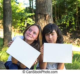 あなたの, シート, message:, ペーパー, 2, 若い, park., 保有物, きれいにしなさい, 白, 美しい, 旗, 女の子
