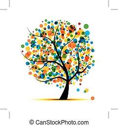 あなたの, デザイン, 木, 抽象的