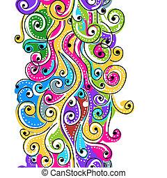 あなたの, パターン, 抽象的, seamless, 手, 背景, 引かれる, 波, デザイン