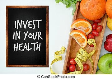 あなたの, フィットしなさい, ライフスタイル, 得なさい, 健康, 食事, 装置, フィットネス, 投資しなさい, 食物, 概念, 健康
