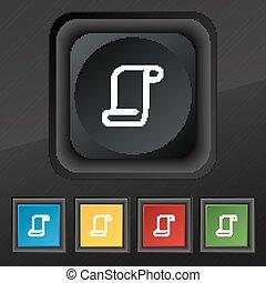 あなたの, ベクトル, ペーパー巻き物, カラフルである, 黒, 手ざわり, アイコン, セット, ボタン, シンボル。, 流行, 5, design.