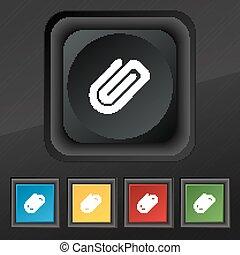あなたの, ベクトル, ペーパー, カラフルである, 黒, 手ざわり, アイコン, セット, ボタン, クリップ, シンボル。, 流行, 5, design.