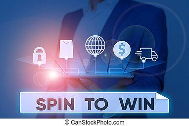 あなたの, 回転, 手書き, win., 概念, 運, テキスト, 宝くじ, ゲーム, ギャンブル, 幸運, 意味, 試み, risk., カジノ
