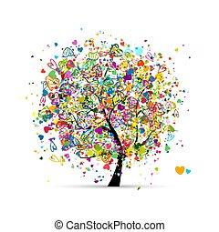あなたの, 木, 抽象的, カラフルである, デザイン