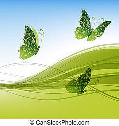 あなたの, 背景, 蝶, 緑, デザイン, 美しい