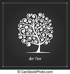 あなたの, 背景, 黒, デザイン, 芸術, 木