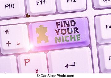 あなたの, showcasing, ファインド, 潜在性, 探す, 写真, 特定, メモ, クライアント, niche., 市場, 執筆, 提示, 勉強しなさい, marketing., ビジネス