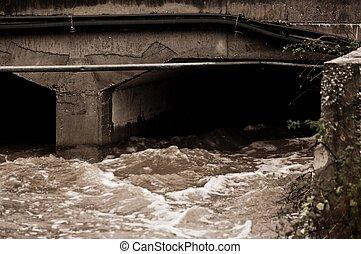 あふれられる, 運河, 雨