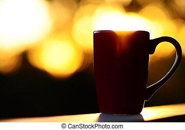 あふれる, 日の出, カップ, コーヒー, 赤