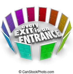 あらゆる, 入口, 積極性, 成長, 出口, ドア, 新しい, 機会