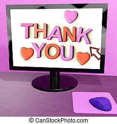 ありがとう, メッセージ, 上に, コンピュータ・スクリーン, 提示, オンラインで, 感謝