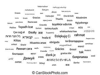 ありがとう, 句, 中に, 別, 言語, の, 世界, 白, 背景
