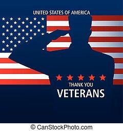 ありがとう, 旗, 兵士, あなた, ベテラン, 挨拶, 日, 幸せ
