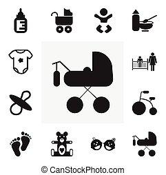 ありなさい, セット, 12, モビール, icons., 缶, 三輪車, 乗り物, editable, 使われた, 含む, シンボル, infographic, ui, 網, 子供, そのような物, more., 動物, プラシ天, design.