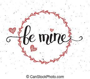 ありなさい, バレンタイン, テキスト, logotype, 私の, 手, sketched, バッジ, 日, アイコン