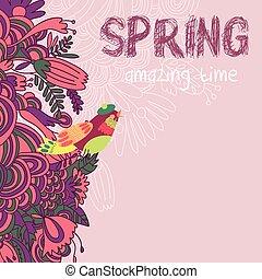 ありなさい, 作成, 招待, 明るい, イラスト, 結婚式, 缶, 花, カード, かわいい, bird., カード, birthday, 挨拶, 使われた, バックグラウンド。, 春, 美しい