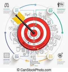 ありなさい, 使われた, ターゲット, ビジネス, ワークフロー, マーケティング, concept., レイアウト, icons., 図, 網, infographic, 缶, 矢, doodles, デザイン, template., 旗
