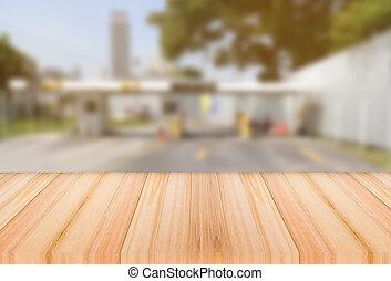 ありなさい, 使われた, ライト, 上, 通行料, ターンパイク, 背景, 缶, ぼやけ, 広告, テーブル, 木