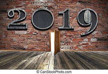 ありなさい, 使われた, concept., wall., 印, 暗い, バックグラウンド。, 2019, 缶, 年, 前部, 新しい, れんが, celebrattion, ビュー。