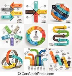 ありなさい, 使われた, elements., ビジネス, ワークフロー, マーケティング, オプション, 矢, 数, ...