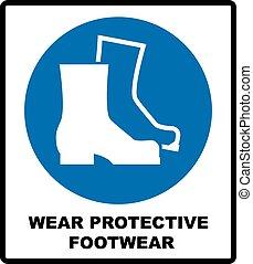 ありなさい, 保護である, mandatory, illustration., 印, ブーツ, footwear., ベクトル, 安全, ウエア, 身につけられた, 不可欠