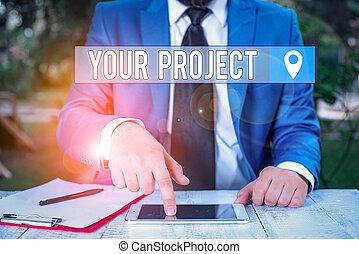 ありなさい, 写真, 必要性, リーチ, him., 前部, ビジネスマン, 仕事, シリーズ, 結果, project., メモ, あなたの, showcasing, 完了された, 提示, とんびが指さす, 執筆, ビジネス