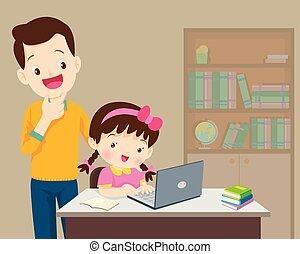 ありなさい, 女の子, 何か, 幸せなパパ, 子供, ラップトップ