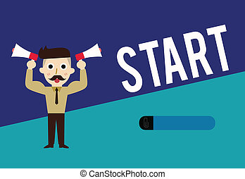 ありなさい, 始めなさい, ビジネス, reckoned, 写真, 提示, ポイント, スペース, 執筆, メモ, showcasing, start., 時間, 発射, ∥あるいは∥, 特定