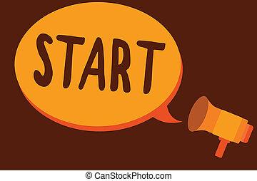 ありなさい, 始めなさい, 概念, ポイント, テキスト, スペース, reckoned, 執筆, 意味, start., 時間, 発射, 手書き, ∥あるいは∥, 特定